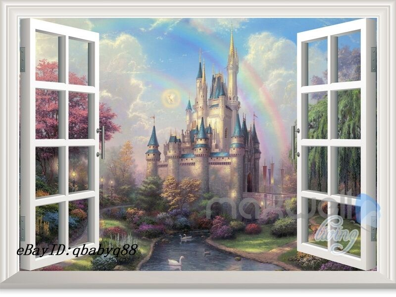 Disney tinkerbell fairy castle 3d window wall decals girl for Door mural decals