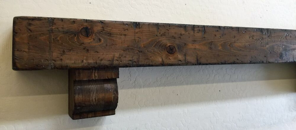 rustic fireplace mantle wood beam mantle with corbels rustic mantle 60 inches ebay. Black Bedroom Furniture Sets. Home Design Ideas