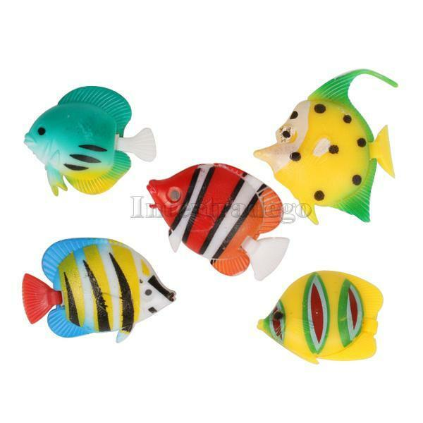 5pcs aquarium tank plastic artificial swimming fake fish