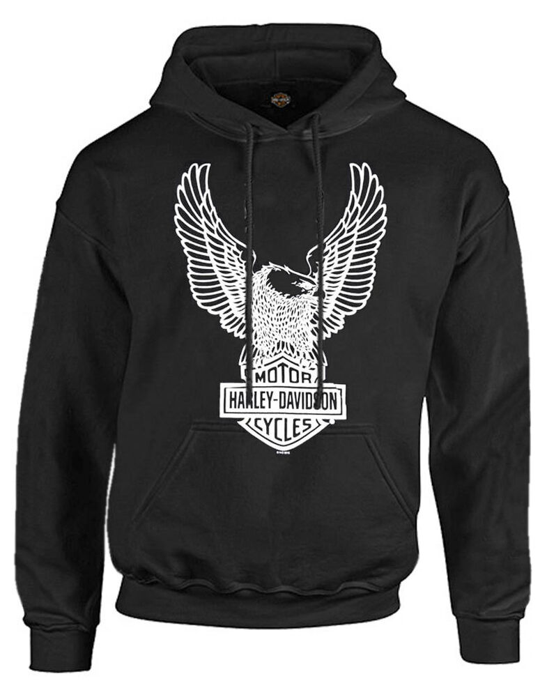 harley davidson men 39 s pullover hoodie sweatshirt eagle. Black Bedroom Furniture Sets. Home Design Ideas