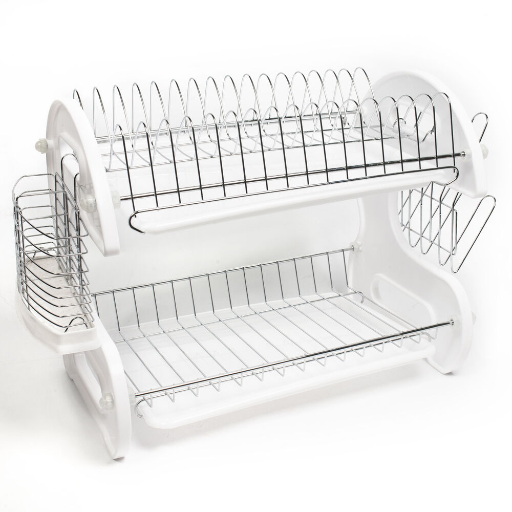 home basics white 2 tier kitchen sink dish drainer set ebay. Black Bedroom Furniture Sets. Home Design Ideas