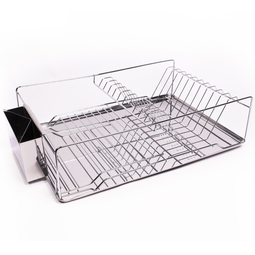 home basics 3 piece stainless steel chrome kitchen sink dish drainer set ebay. Black Bedroom Furniture Sets. Home Design Ideas