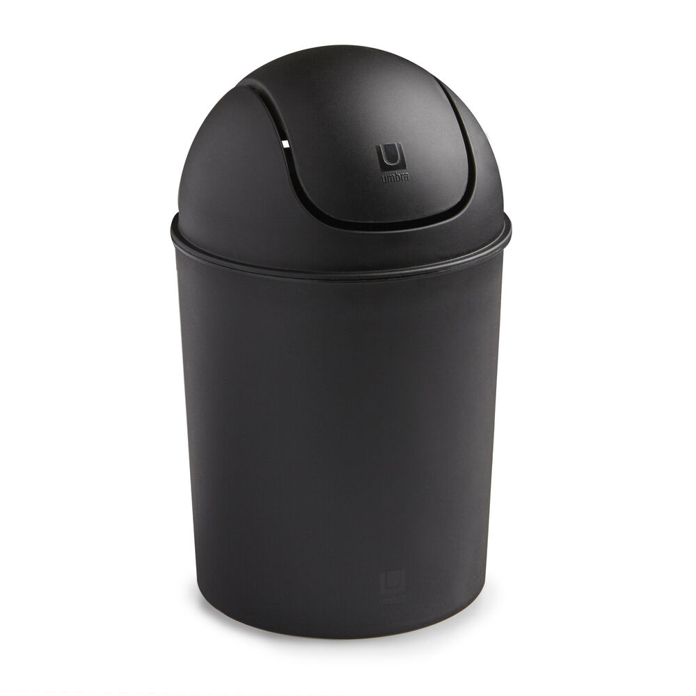 Umbra mini recycled polypropylene waste can black trash paper wastebasket ebay - Small trash can with lid ...
