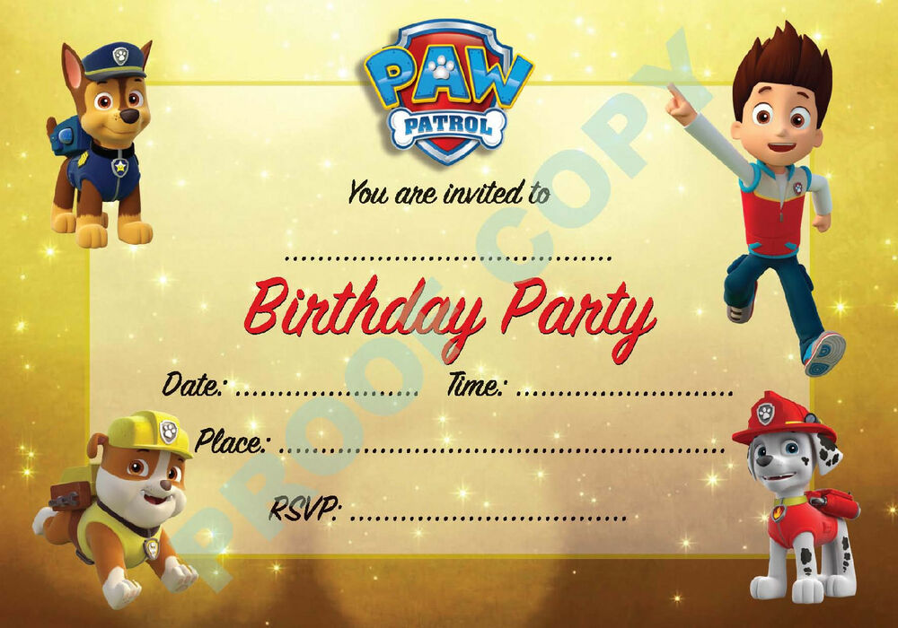 23 Paw Patrol Pack Of 10 Dogs Kids Children Birthday Party Invitations Ebay