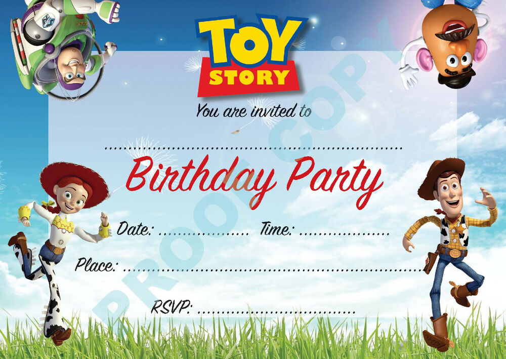 Toy story buzz woody kids children birthday party for Toy story invites templates free