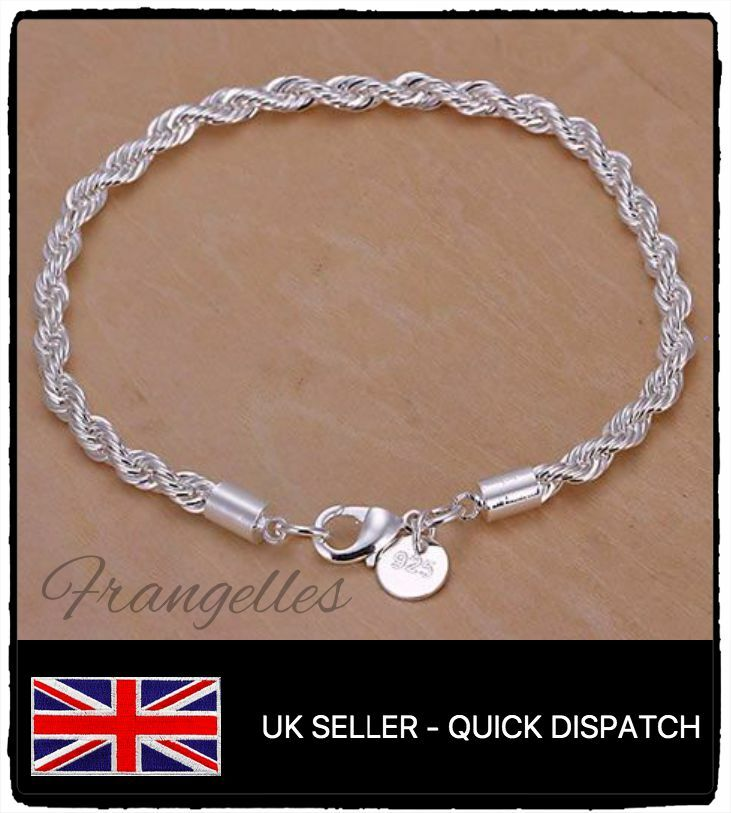 Silver Rope Bracelet: 925 Sterling Silver Twisted Rope Cord 8 Inch Bracelet FREE