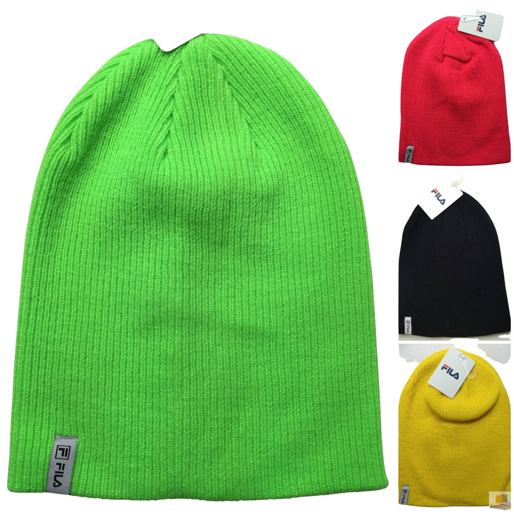 1dd640a30b9 Details about FILA Brights Long Pull On Beanie Hat Running Skiing Warm  Winter Cap Authentic