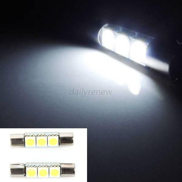 2 xenon white 3 smd 6641 led bulbs for car vanity mirror lights sun visor l. Black Bedroom Furniture Sets. Home Design Ideas