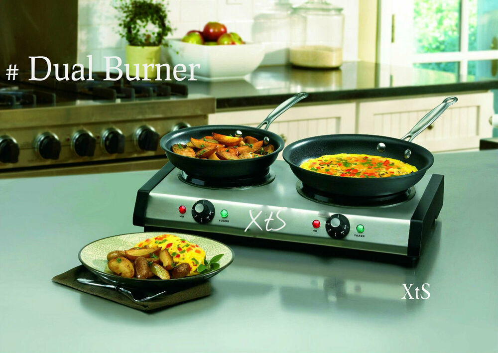 Portable Electric CookTop 2 Burner Stove Cast Iron Countertop RV Camp ...