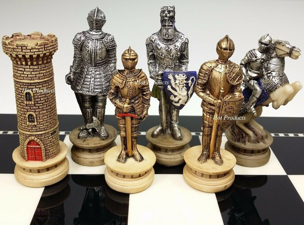 Medieval times crusades gold silver armored knight chess men set no board ebay - Medieval times chess set ...