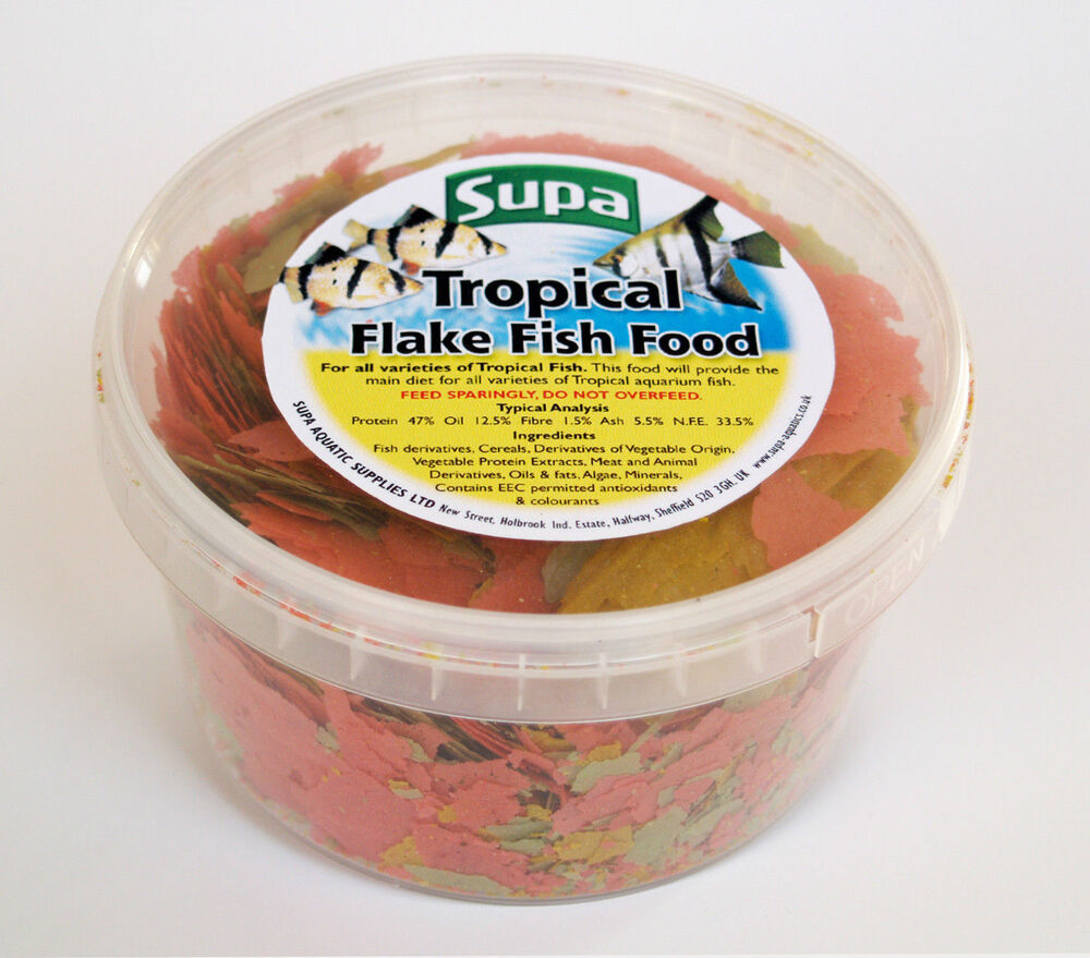 Supa tropical fish food flake aquarium fish food 500ml tub for Aquarium fish food