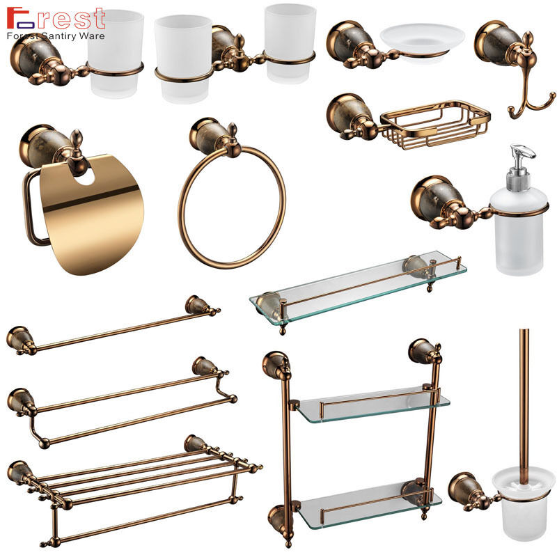 Luxury Rose Gold Victorian Round Style Wall Mounted Bathroom Accessories 14 Set Ebay