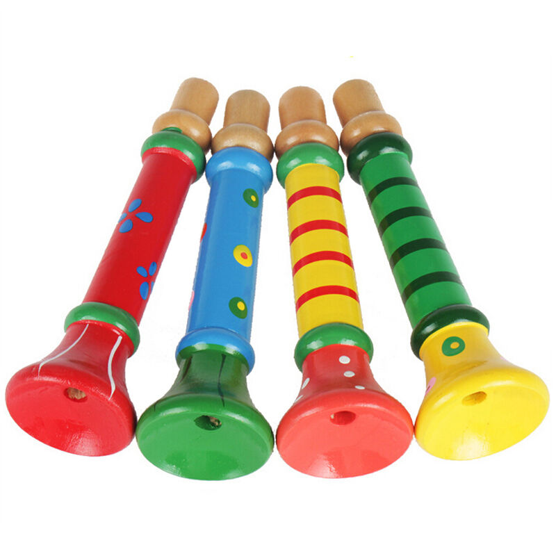 Toy Musical Horns : Colorful baby kids wooden trumpet buglet hooter bugle