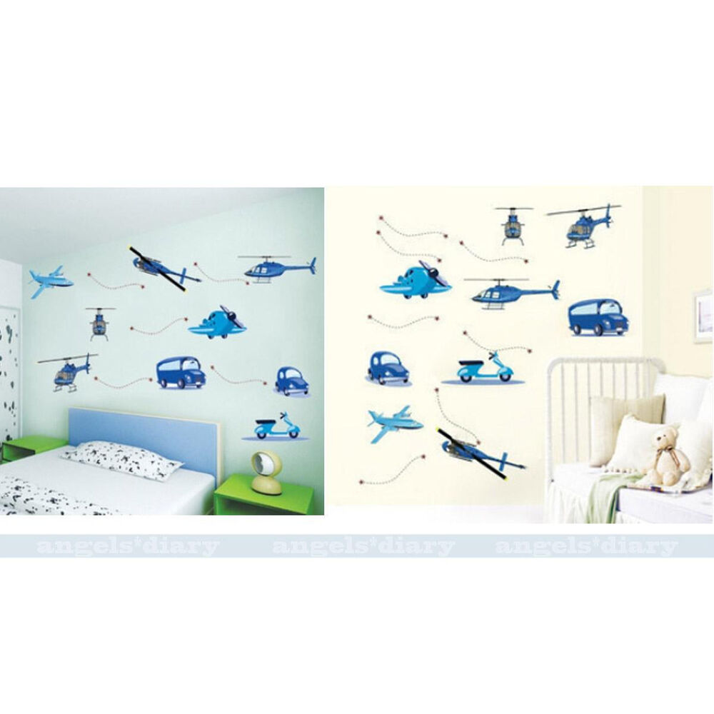 cartoon car plane wall sticker removable wallpaper for personalised f1 race car wall sticker boys name bedroom