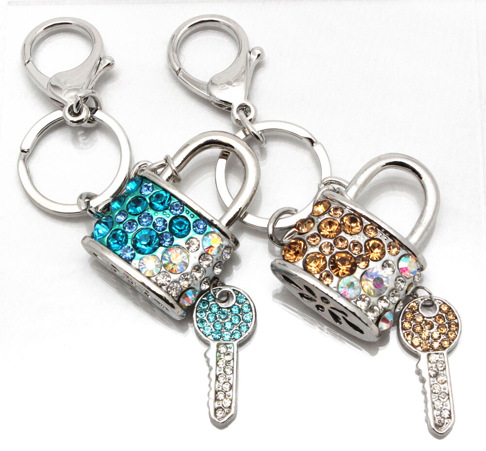 beautiful jewelled padlock and key keyring handbag