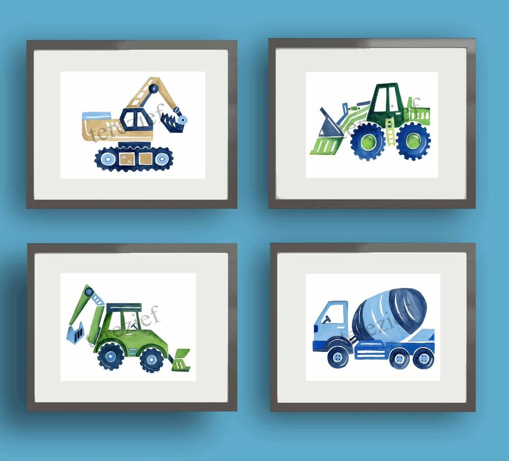 Construction vehicles cars trucks busy builder baby boy for Boys wall art