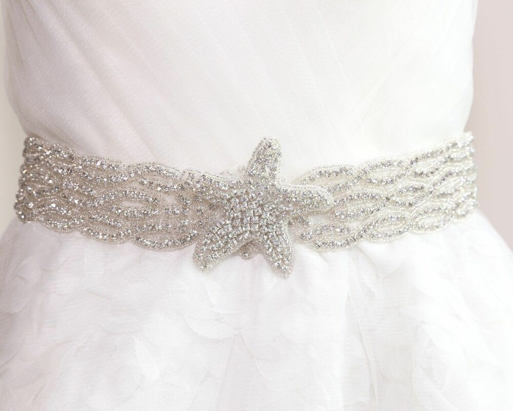 Bridal wedding starfish star rhinestone crystal ribbon for Rhinestone sashes for wedding dresses