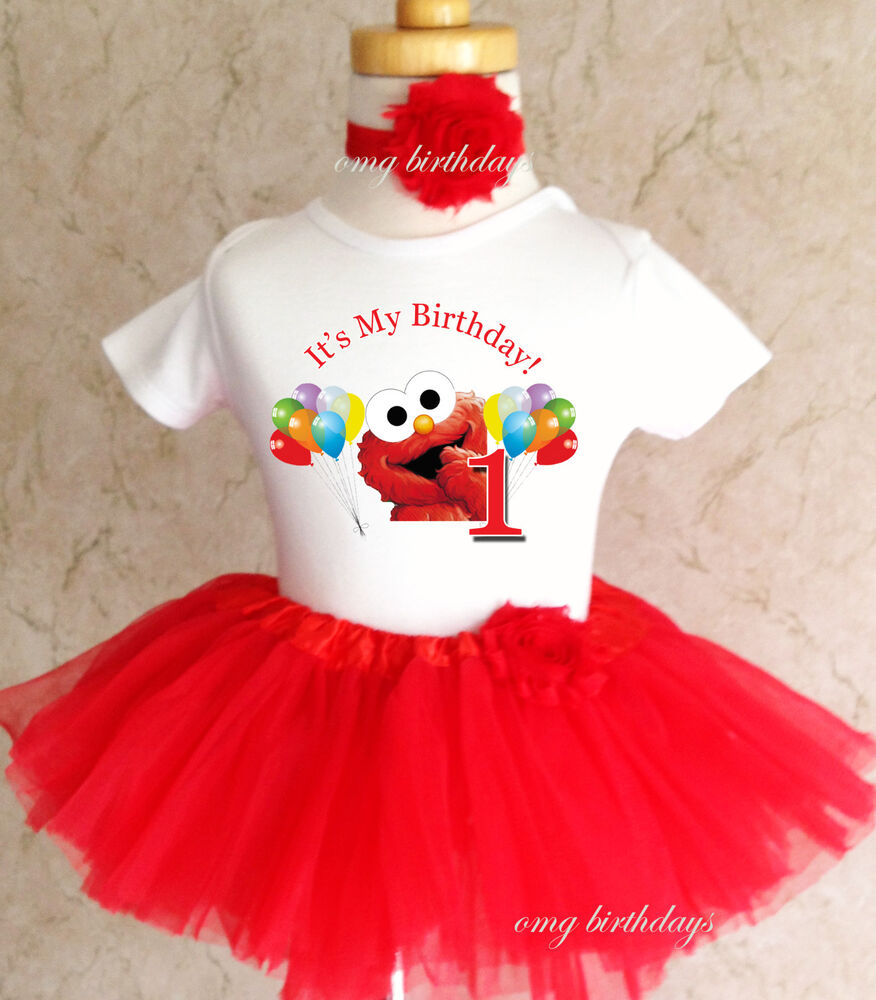 Birthday Party Outfit: Elmo Red Rainbow Balloons Baby Girl 1st First Birthday