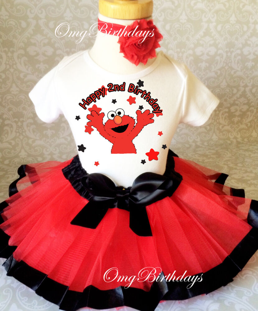 Elmo Red Black Stars 2nd Second Birthday Shirt Tutu Outfit