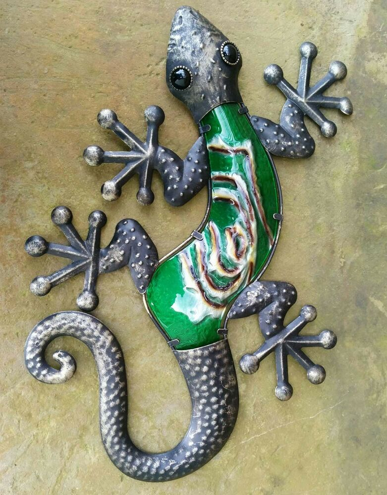 Handcrafted bronze finish gecko 19 wall art indoor or for Gecko wall art