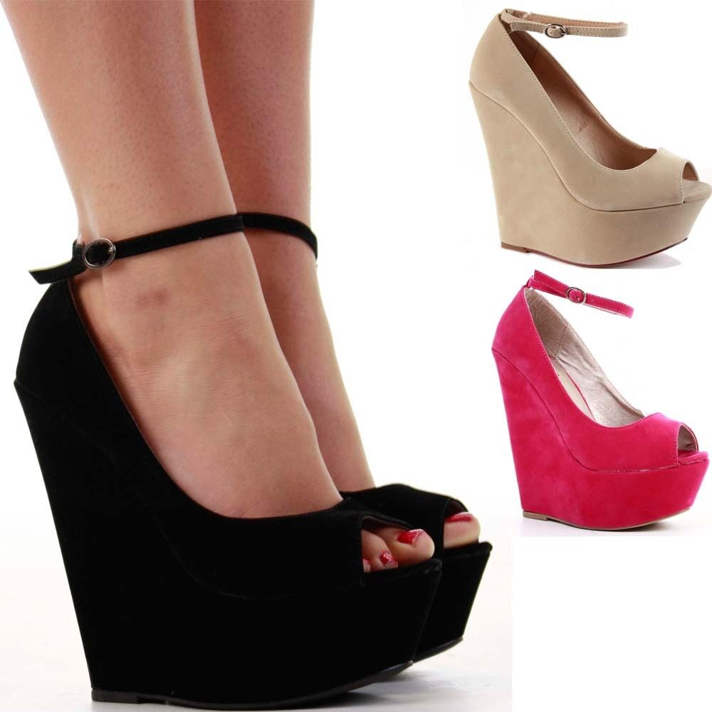 LADIES WOMENS PLATFORM HIGH HEEL STRAPPY PEEPTOE WEDGE ...
