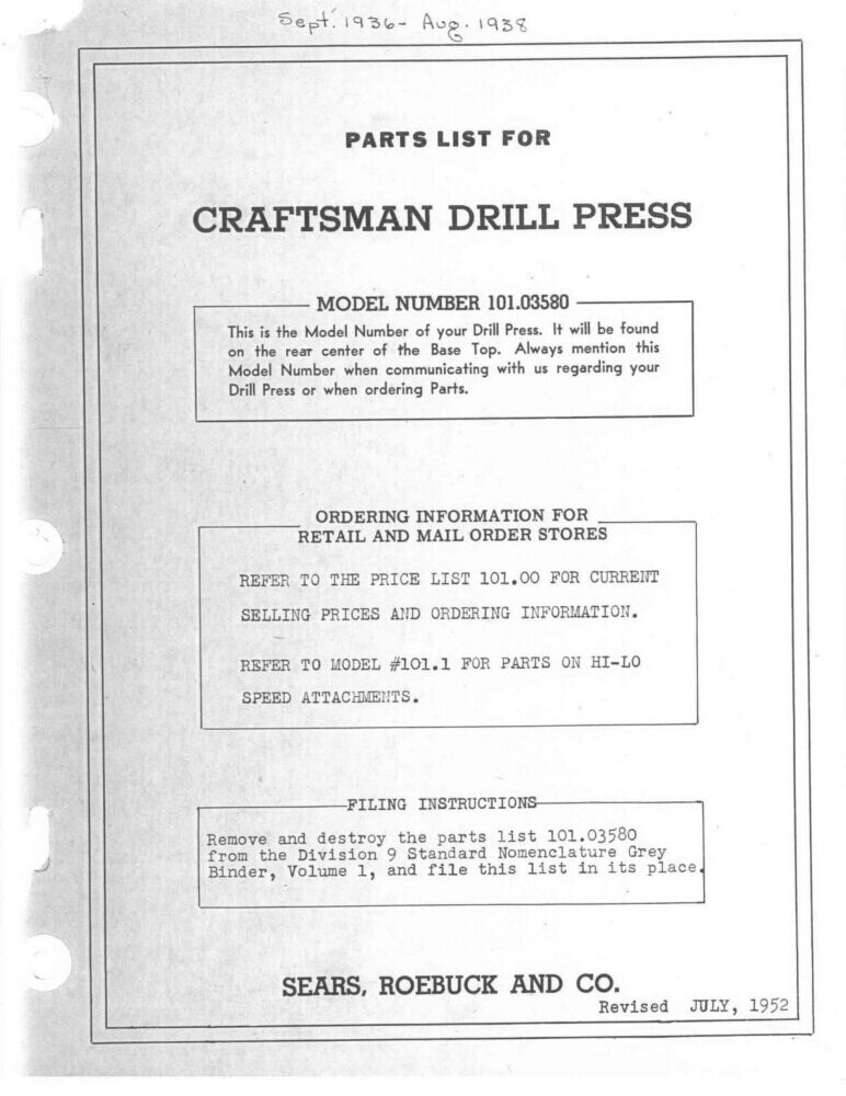 Craftsman Drill Instruction Manual