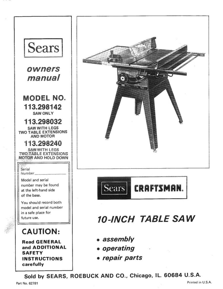 1983 craftsman 10 table saw with legs two for 10 table saw motor