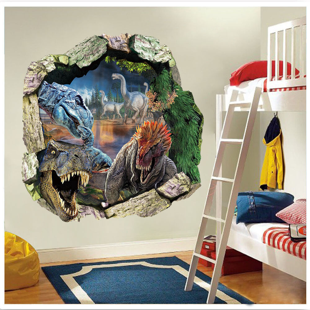 3d view dinosaur t rex jurassic park sticker wall decals for Decor mural 3d