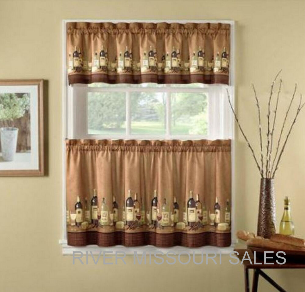 Wine Bottles And Glasses Printed Window Valance And Tier