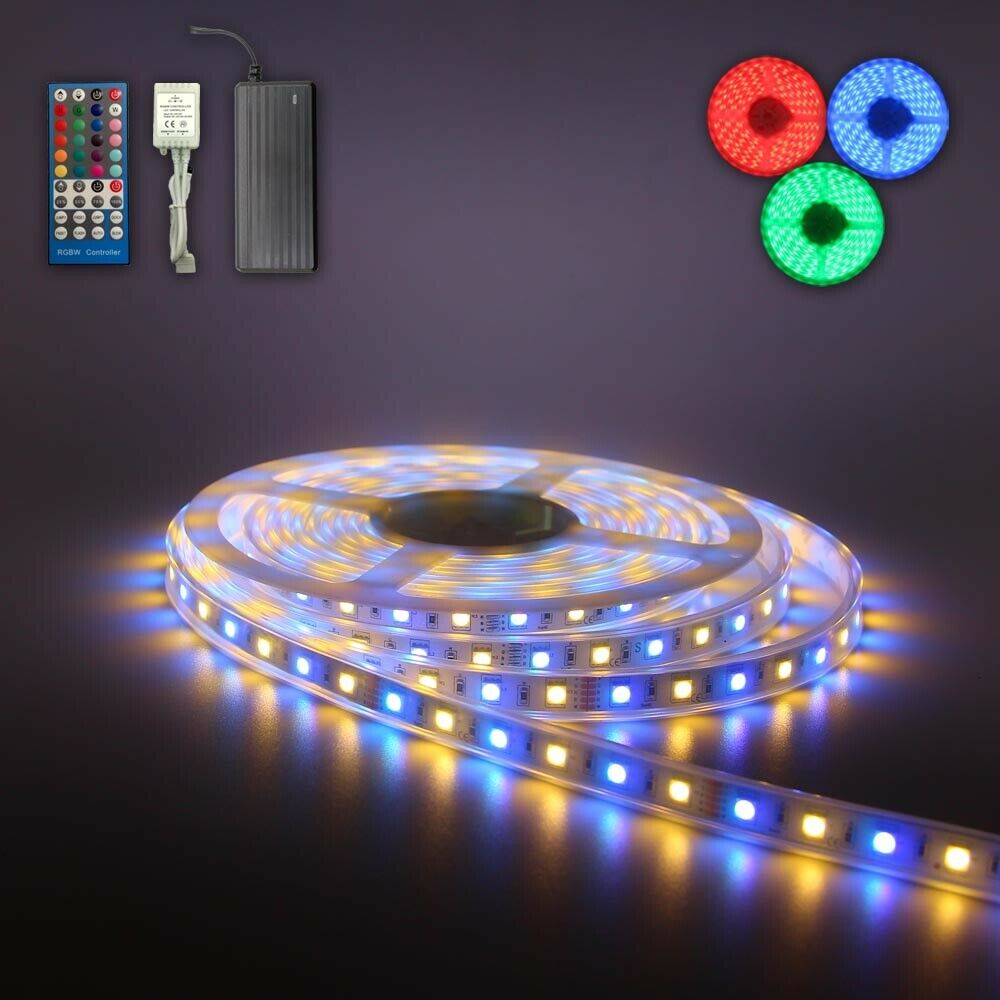 continuous 5m 10m 15m 20m rgbw smd 5050 led strip light w music sensor 12v psu ebay. Black Bedroom Furniture Sets. Home Design Ideas