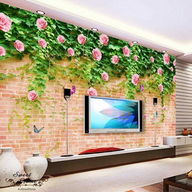 Brick flower rosa vine print full wall mural photo for Brick wall decal mural