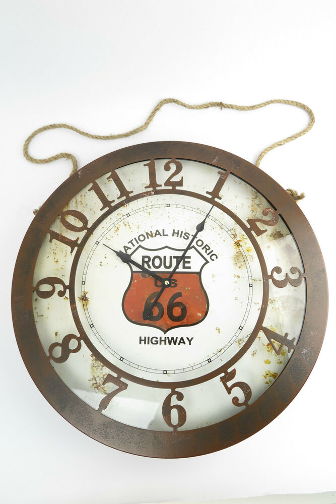 gro e xxl wanduhr route 66 glas blech blechuhr biker ebay. Black Bedroom Furniture Sets. Home Design Ideas