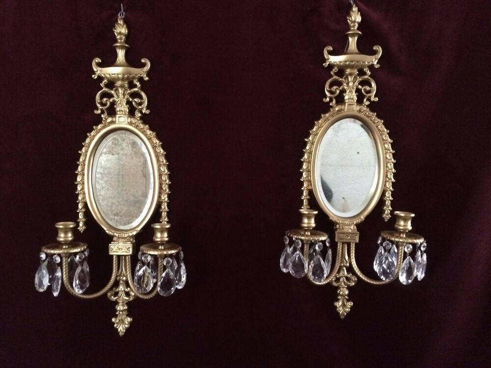 2 Victorian Brass Oval Beveled Mirror Double Arm Candle