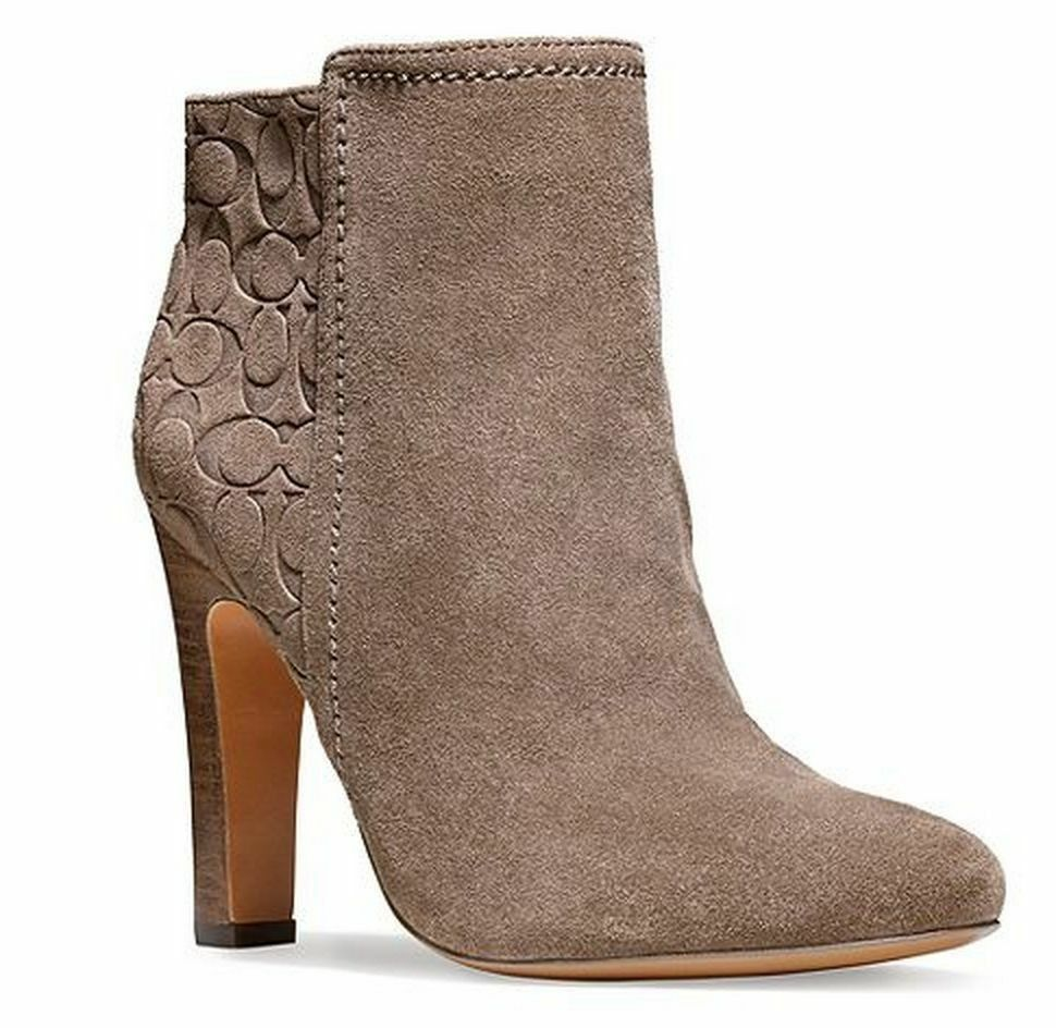 coach hanni gray signature embossed suede ankle boot