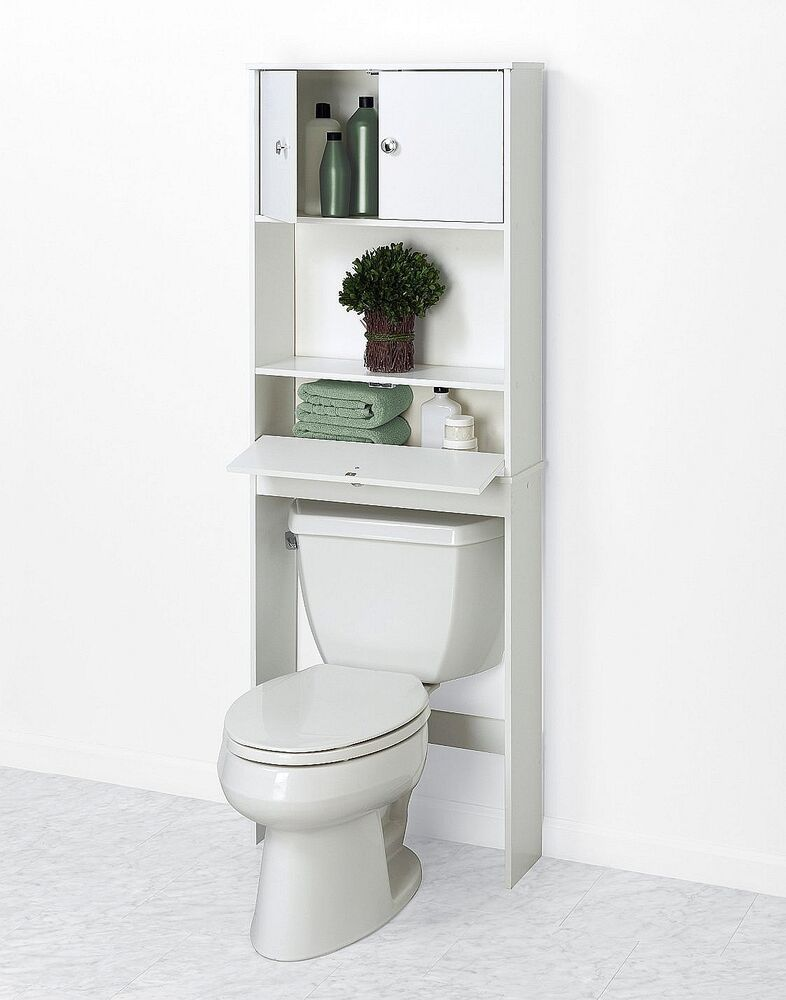 Bath Over Toilet Shelf Cabinet Bathroom Standing Space Saver Storage Rack White Ebay
