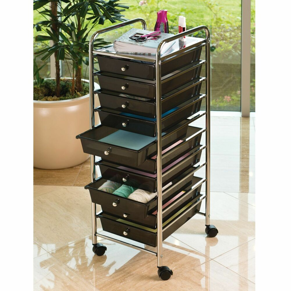 Seville 10 drawer black rolling cart office school for Rolling craft cart with drawers