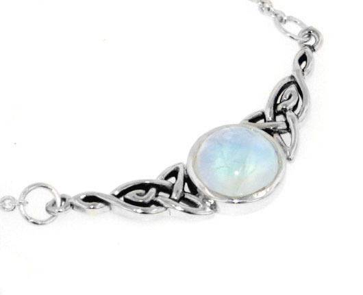 Sterling Silver Celtic Knot Rainbow Moonstone Adjustable ...