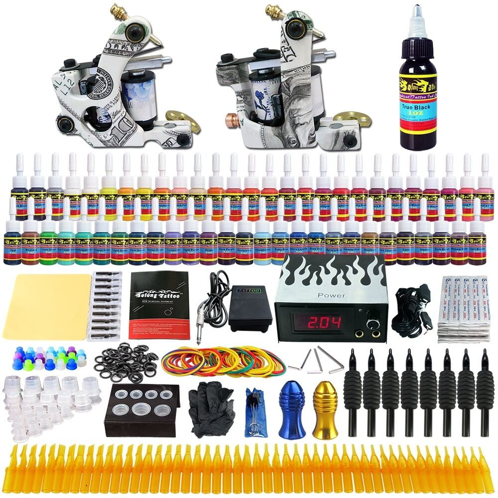 solong tattoo 2 tattoo machine gun complete kit set 54 ink