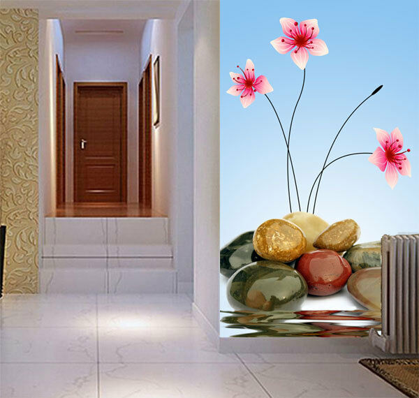 Pebbles flower pretty rocks art full wall mural photo for Home wallpaper ebay