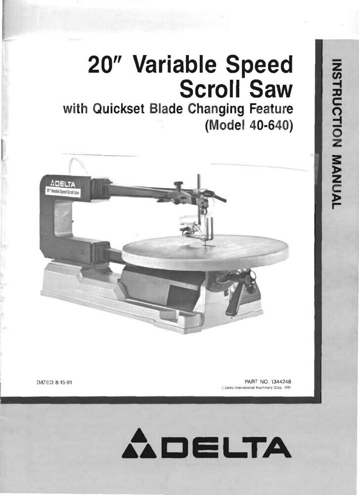 DELTA Getting Most Out of Your Band Saw /& Scroll Saw Manual 0212