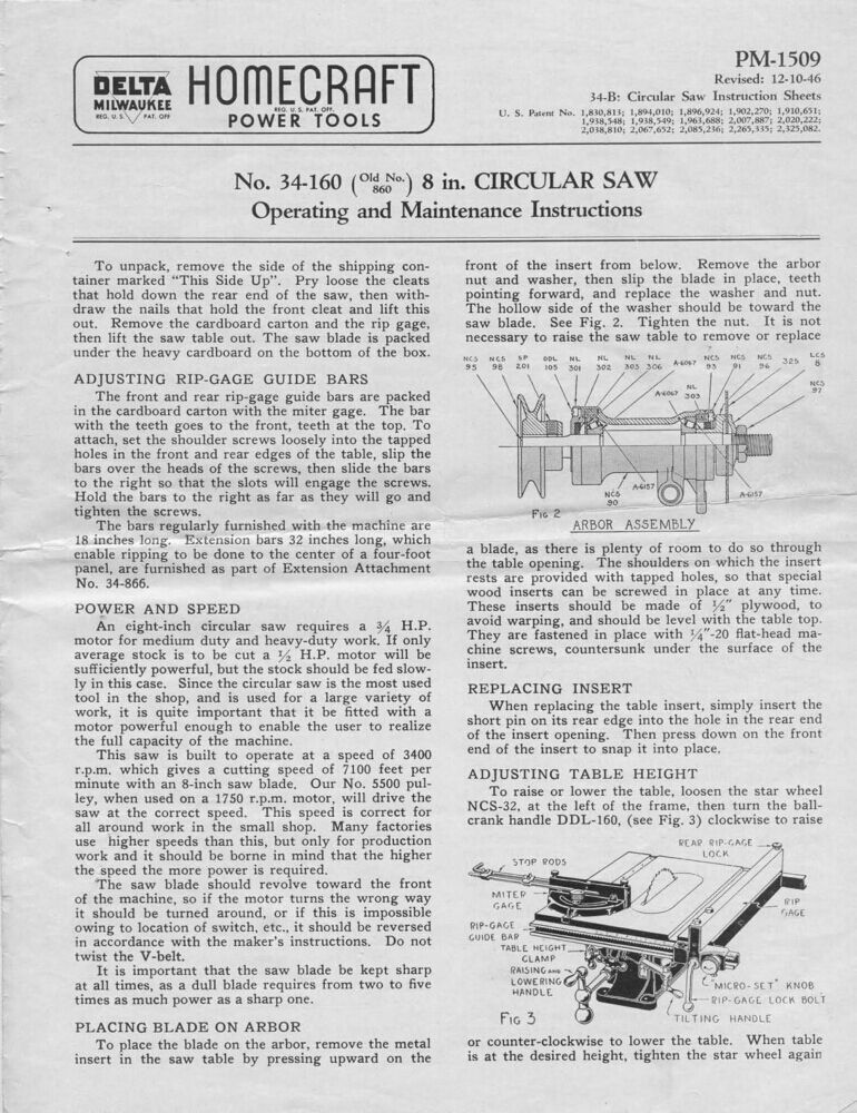 Delta rockwell no 34 160 8 circular saw instructions ebay 34 160 8 circular saw instructions ebay greentooth Image collections