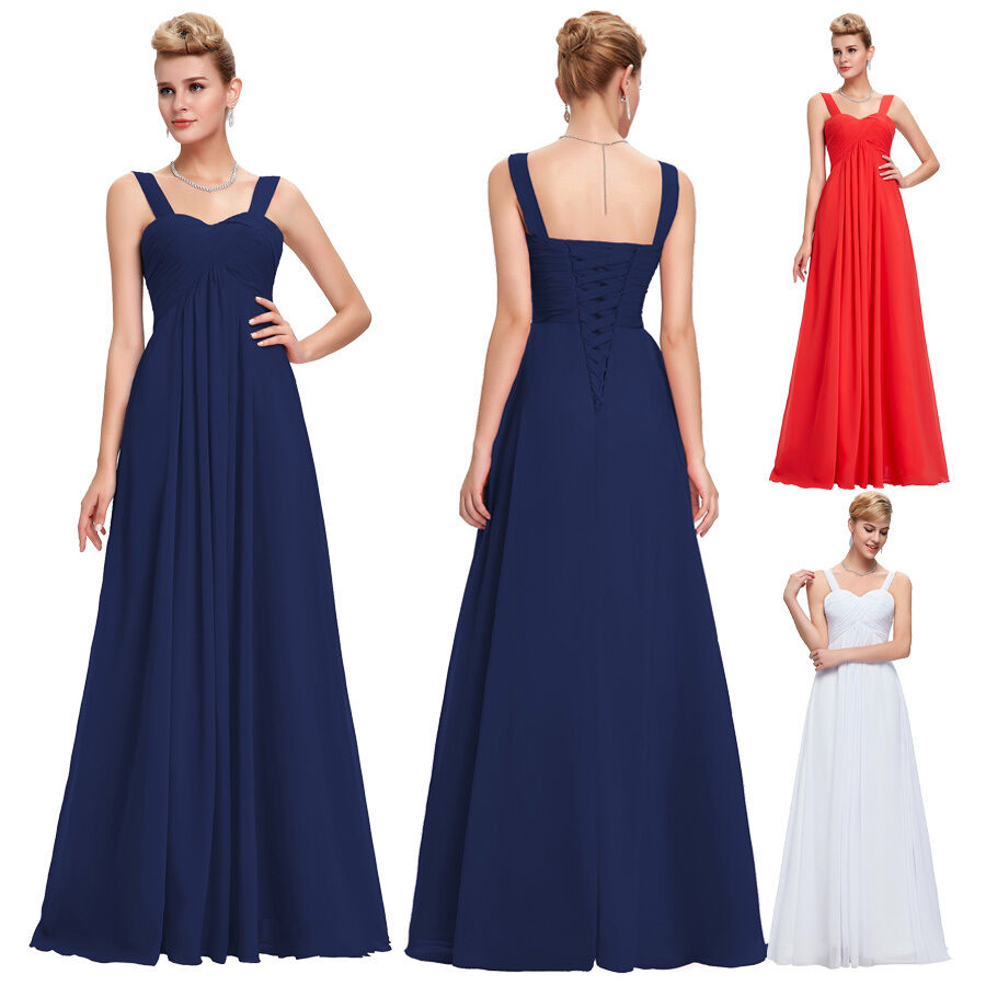 Plus size long bridesmaid formal gown wedding evening prom for Ebay wedding bridesmaid dresses