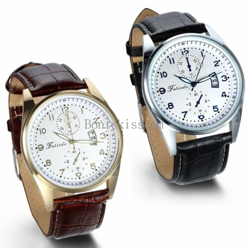 Leather Band Round Quartz Analog Elegant Classic Casual Men's Wrist Watch New