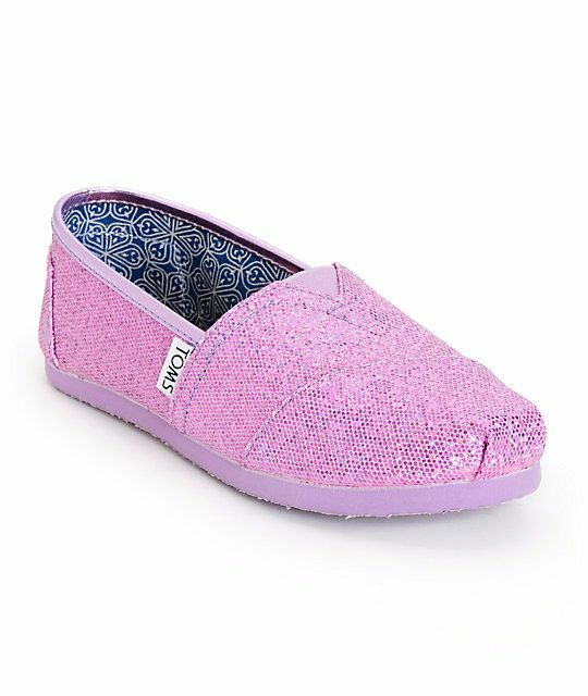 Toms Classics Lilac Pink Glitter Kids Girls Youth Shoes ...