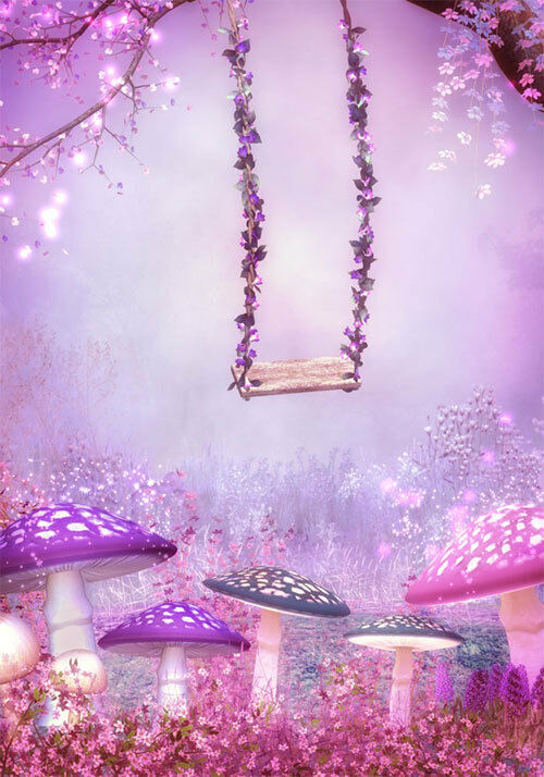 Purple Pink Fantasy Garden Swing Full Wall Mural Photo