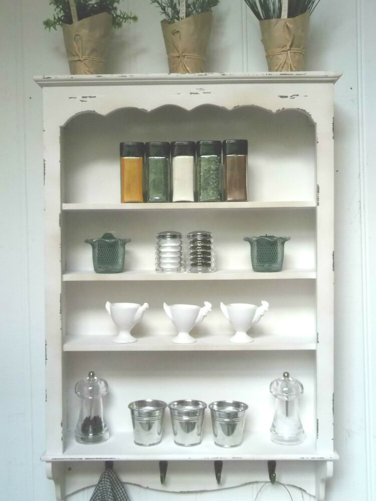 Shabby chic wall shelf unit 4 shelves hooks storage for Kitchen cupboard wall unit