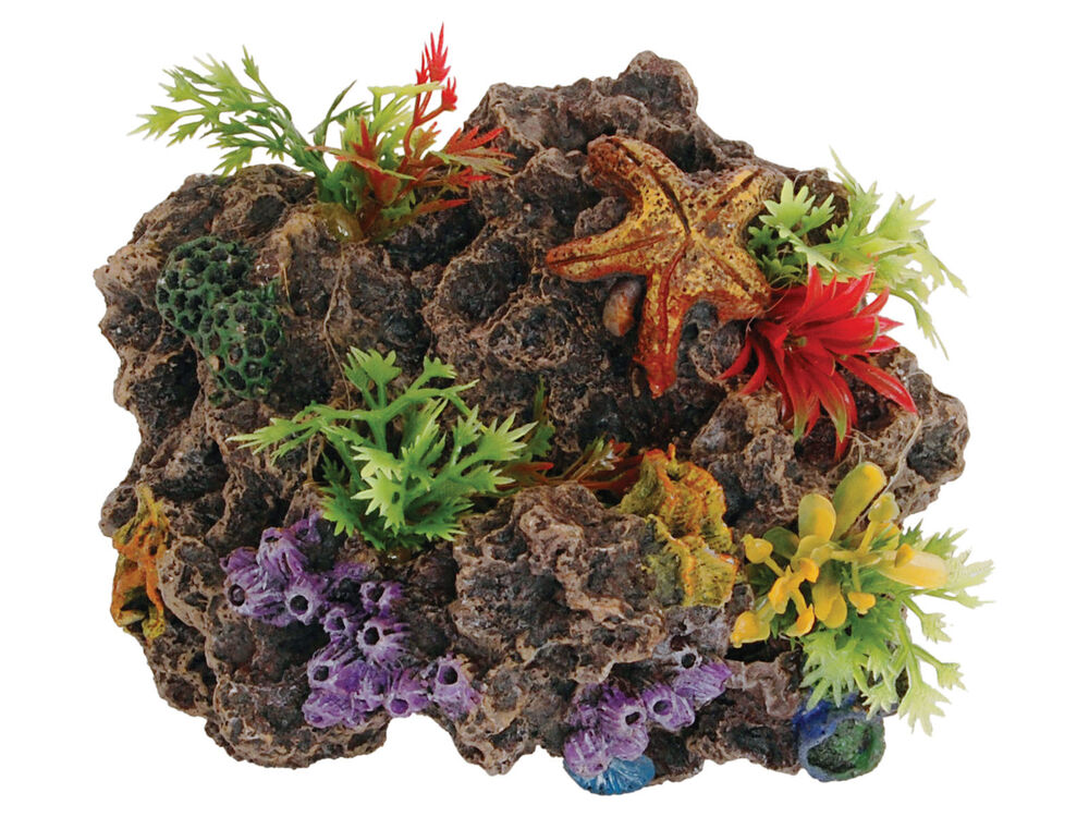 Sucker mounted coral reef decoration fish tank cave for Fish tank coral decorations