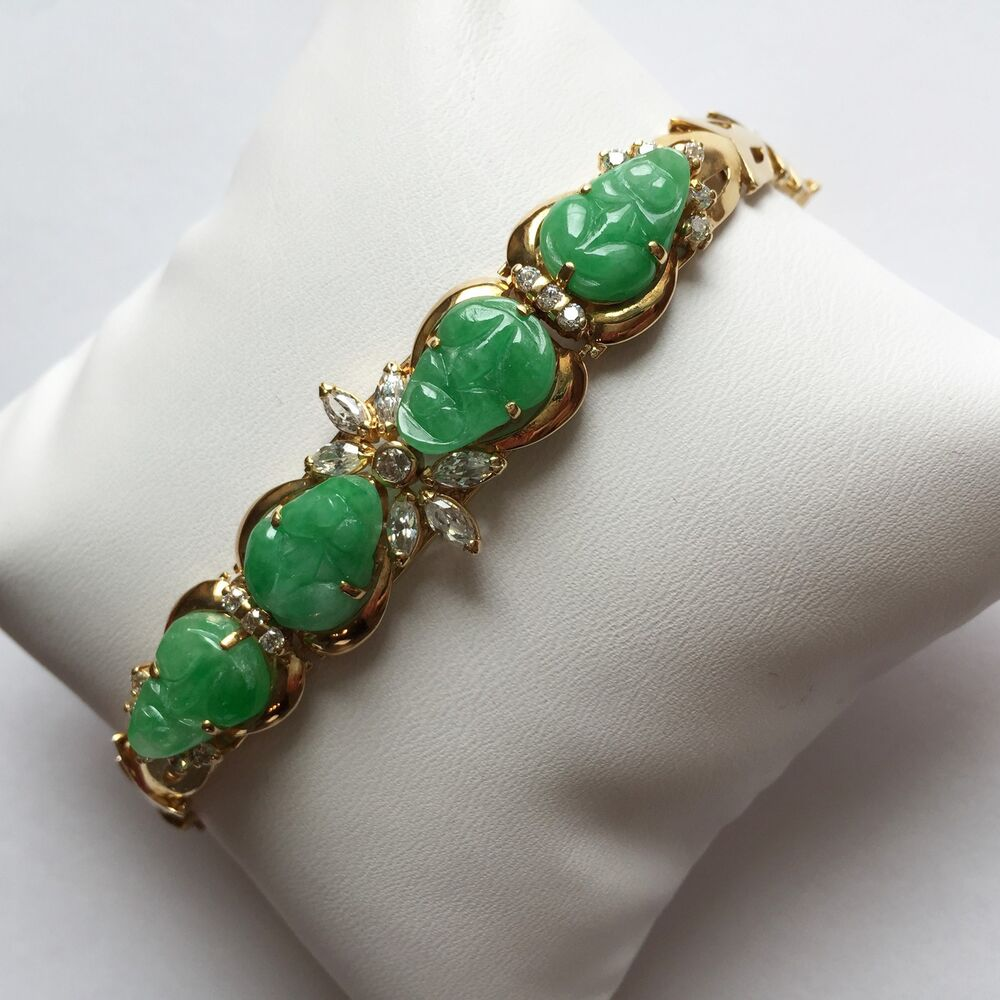 14K Solid Yellow Gold Bracelet, Beautiful Jade Carved Frog ...