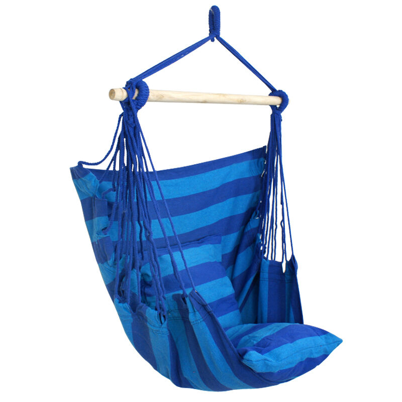 Blue Chair Hanging Rope Swing Hammock Outdoor Indoor Porch Patio Yard