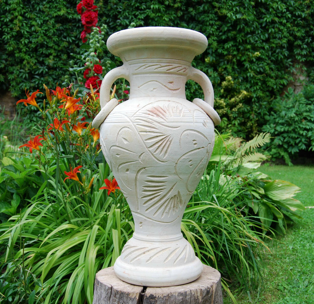 amphore mit st nder 65cm vase terracotta im metallst nder f r garten haus ebay. Black Bedroom Furniture Sets. Home Design Ideas